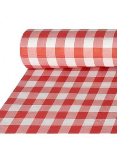 Mantel de papel cuadros vichy rojo blanco gofrado damasco 50 x 1m