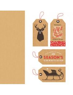 Servilletas de papel navideñas 33 x 33 cm Kraft Tags