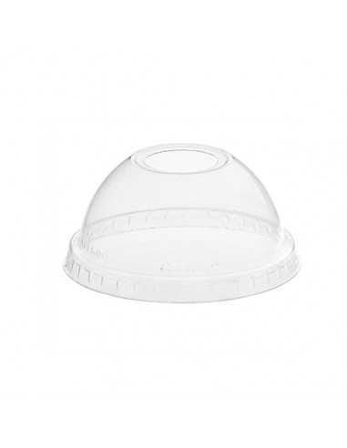 50 Tapas Hurricane Plastico PET Transparentes Con Agujero Ø 7,8 x 3,8 cm
