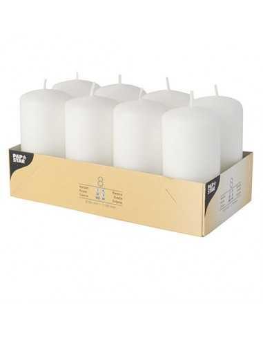 Velas de taco decorativas color blanco Ø 50 x 100mm
