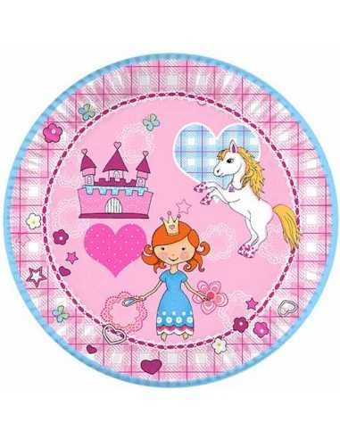 Platos de cartón decorados fiesta infantil princesas Ø23cm