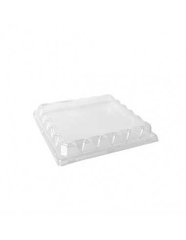 50 Tapas de Plástico PET Claro Cuadradas 20 x 20 x 3cm
