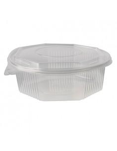 Recipientes tapa bisagra plástico transparente octagonales 1500 ml