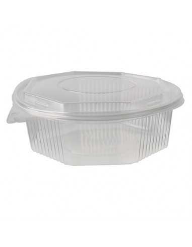 25 Recipientes con Tapa Plastico PP Transparente Octagonales 1500 ml