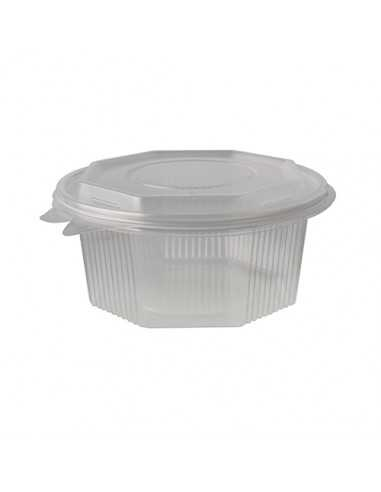 Envases tapa bisagra plástico transparentes octagonal 750 ml