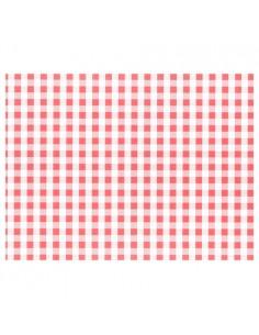 Mantelitos de papel individuales cuadro vichy rojo blanco 30 x 40cm