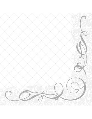 Servilletas papel para celebraciones color plata 40 x 40 cm Megan Royal Collection