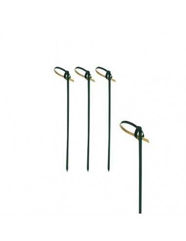 250 Palillos Brocheta de Bambú Negro Con Lazo 6cm Knot