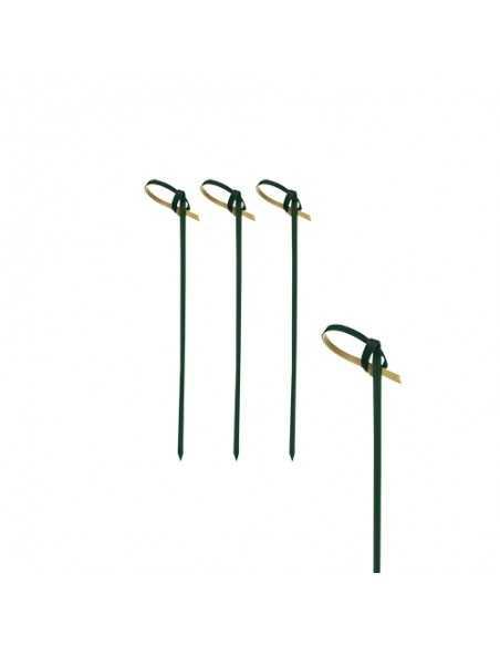 Palillos brocheta de bambú negro con lazo 6 cm Knot
