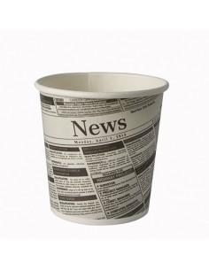 50 Tarrinas Aperitivos Cartón To Go Newsprint Ø 9,9 x 9,9 cm