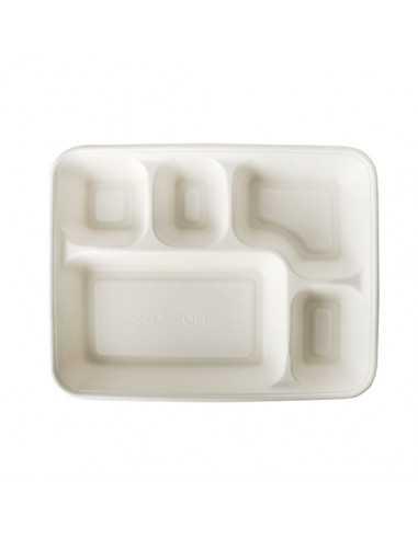 Bandejas Para Menús Caña de Azúcar con 5 Compartimentos Pure