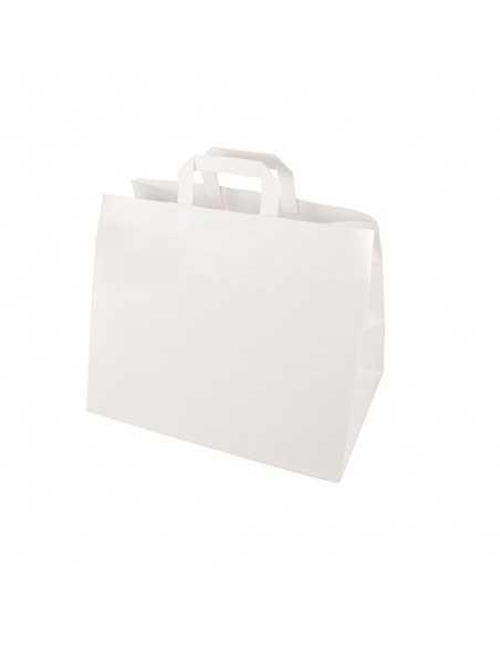 50 Bolsas de Papel Con Asas Color Blanco 27 x 32 x 21,5 cm