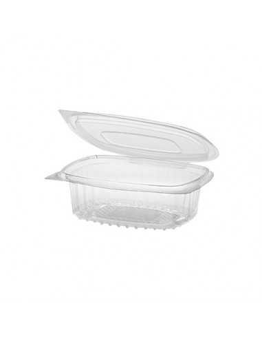 Envases plástico reciclado para comida tapa bisagra transparente 250 ml