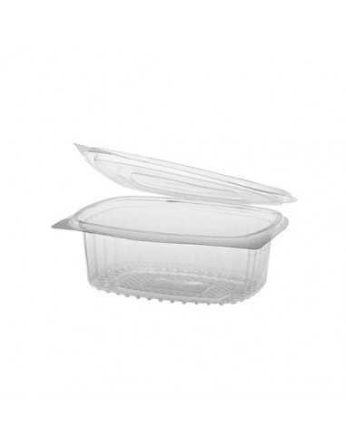 50 Ensaladeras Tapa Bisagra Plástico Reciclado R-PET Transparente 11,5 x 14,4 x 5 cm