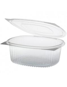 50 Ensaladeras Tapa Bisagra Plástico Reciclado R-PET Transparente 18,2 x 20,8 x 7,6 cm