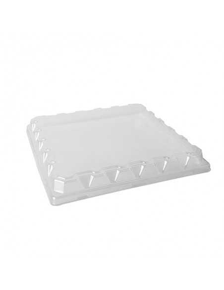 50 Tapas Plástico PET Transparente Cuadradas Para Plato 26 x 26 x 3cm Papstar