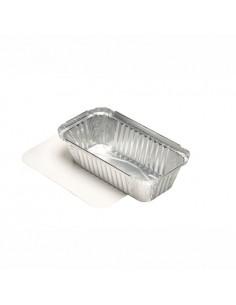 50 Bandejas Aluminio Con Tapa De Cartón PE 10,3 x 19,5x 4,9cm