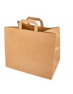 Bolsas papel kraf marrón con asa plana comercio 27 x 32 x 21,5 cm