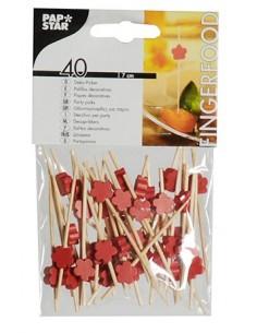 40 Pinchos de Bambú Decorados Con Flor Roja 7cm