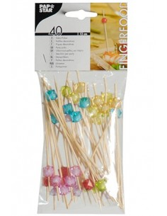 40 Pinchos Brochetas Decoradas 12cm Colores Surtidos Square