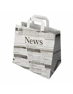 Bolsas papel con asas decoradas periódico 25 x 26 x 17cm