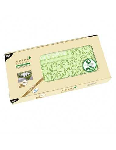 Manteles individuales decorados papel aspecto tela Damasco verde oliva 100 x 100cm