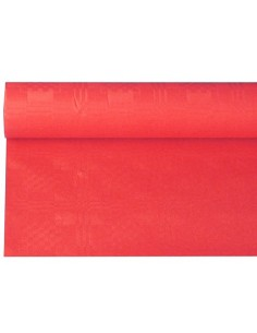Rollo mantel papel color rojo gofrado damasco 6 x 1,2m