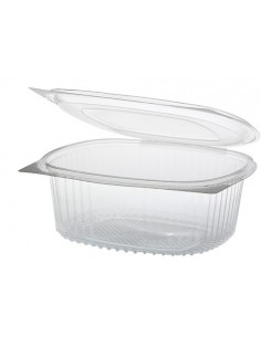 50 Ensaladeras con Tapa Bisagra Plástico Reciclado R-PET Transparente 15,8 x 18,4 x 6,6cm