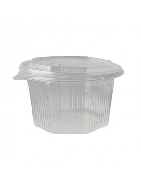 Envases plástico tapa bisagra transparentes octagonales 1000 ml