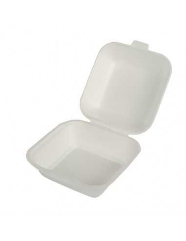 Cajas hamburguesas tapa bisagra EPS blanco 14,5 x 15,5 cm
