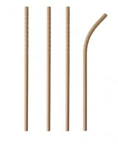 Cañitas flexibles de papel marrón natural Ø 6 mm x 20cm Pure