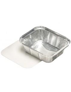 Bandejas aluminio con tapa cartón laminado blanco 500 ml