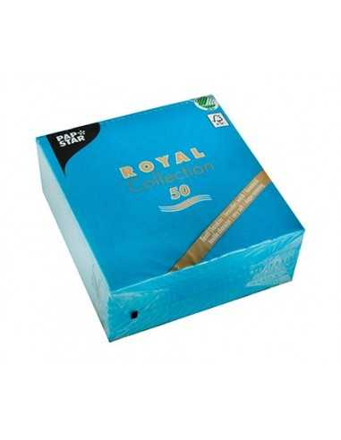 50 Servilletas Papel Tisú Royal Collection Azul Turquesa 33 x 33cm