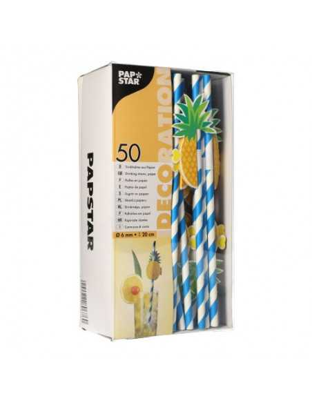 Cañitas papel decoradas rígidas Piñas Ø 6mm x 20cm