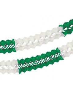 Guirnalda Para Grandes Espacios Papel Verde Blanco Ø 16 cm x 10m