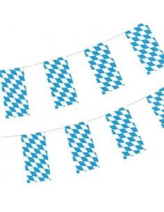 Banderines de papel cuadrados Baviera azul 10 metros