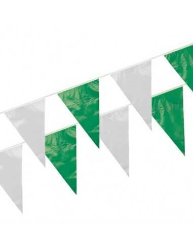 Banderines de Plástico 10 Metros Verde Blanco impermeable