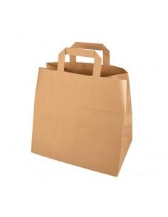 Bolsas papel kraft marrón con asas 25 x 26 x 17 cm