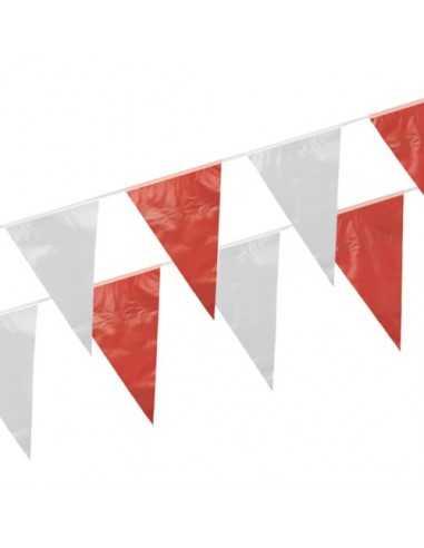 Banderines de Plástico 10 Metros Rojo Blanco impermeable