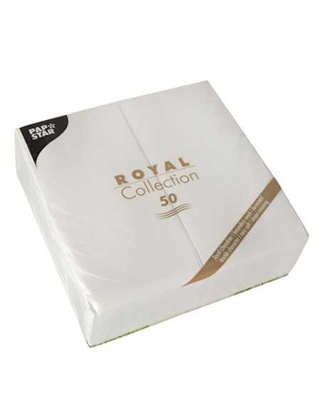 50 Servilletas Color Blanco Papel Tisu Royal Collection 40 x 40cm