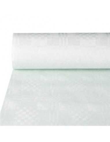 Rollo Mantel Papel con Gofrado Damasco Blanco 50 x 1m
