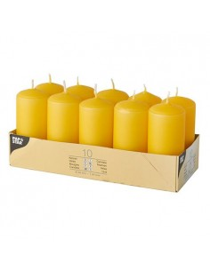 10 Velas de Taco Color Amarillo Dorado Ø 40 x 90mm