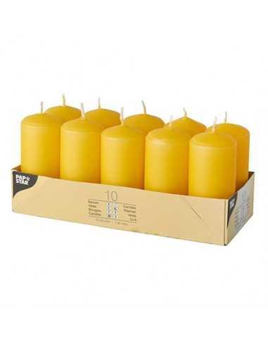 10 Velas de Taco Color Amarillo Dorado Ø 40 x 90mm