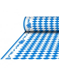 Mantel papel aspecto tela Airlaid decoración baviera azul 25 x 1,18 m