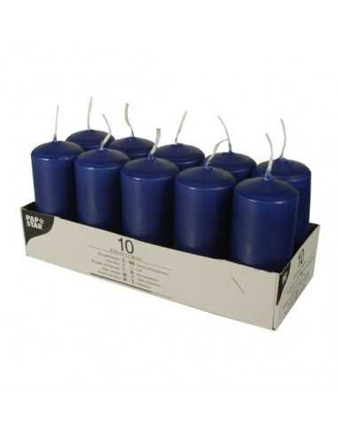 Velas de taco pequeñas cxolor azul oscuro Ø 40 x 90 mm