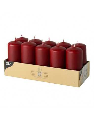 10 Velas de Taco Color Burdeos Ø 40 x 90mm
