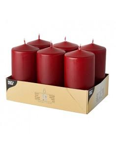 Velas de taco decorativas color burdeos Ø 60 x 115mm