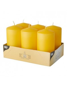 Velas de taco decorativas amarillo oro Ø 60 x 115mm