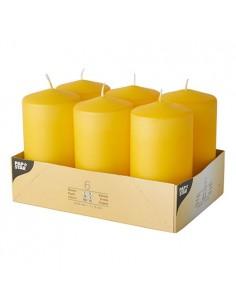 Velas de taco decorativas amarillo oro Ø 60 x 115mm