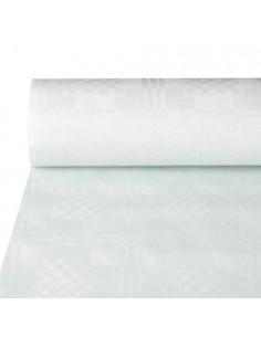 Mantel Papel con Gofrado Damasco Blanco 50 x 1,2m